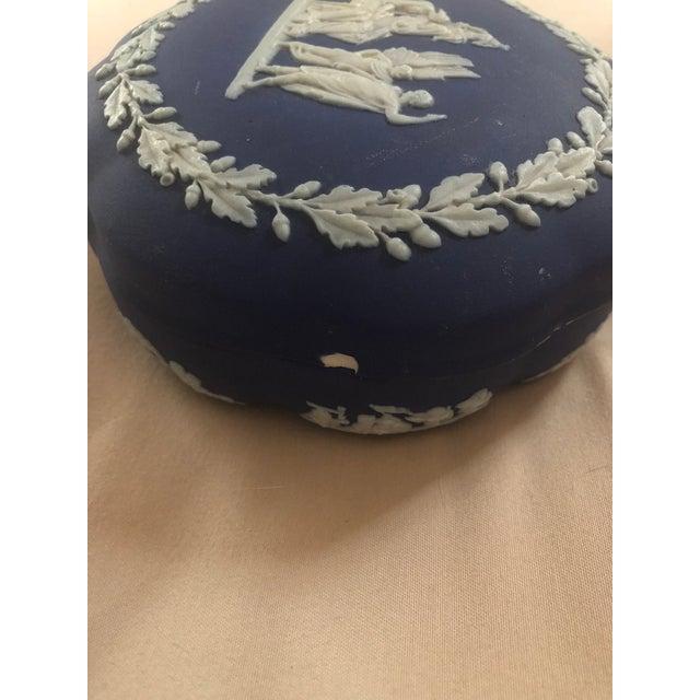 Ceramic Wedgewood Jasper Blue & Cream Jar & Box - A Pair For Sale - Image 7 of 9