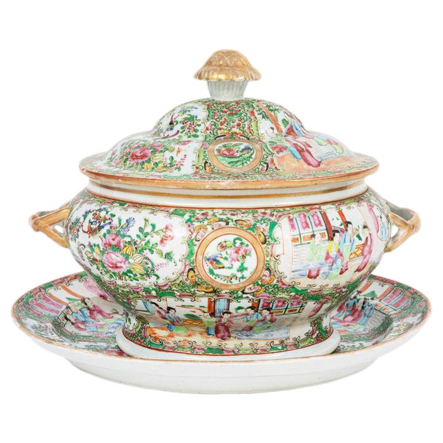 19th Century Rose Medallion Covered Tureen and Platter - 2 Pieces For Sale