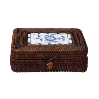 Chinese Small Brown Rattan Woven Porcelain Accent Box