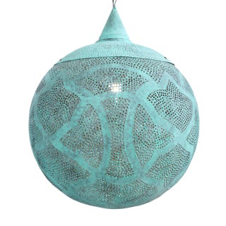 Verdigris Copper Globe Lantern Large For Sale