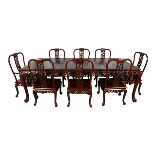 Vintage Chinese Carved Rosewood Dining Set - 9 Pieces For Sale
