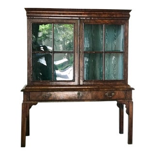 18th Century Queen Ann Walnut Display Cabinet For Sale