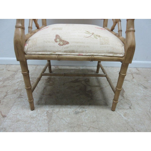 Bamboo Vintage Faux Bamboo Regency Armchair For Sale - Image 7 of 9