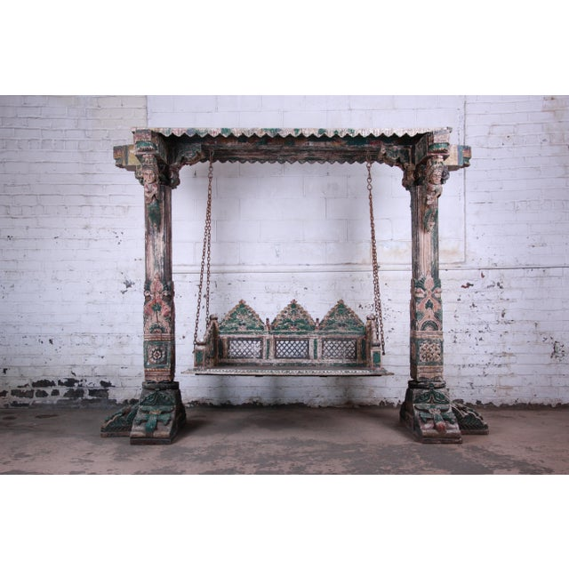 18th Century Ornate Carved Indian Jhula Bench Swing For Sale - Image 13 of 13