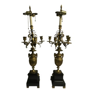Antique Mid 19th Century Victorian Bronze Marble and Malachite Five Electrified Candelabras Lamps - a Pair For Sale
