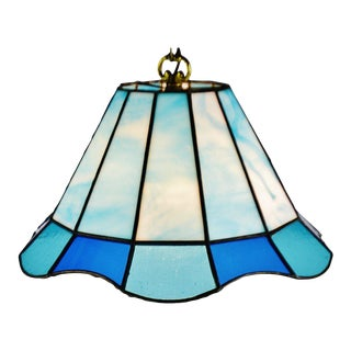 Vintage Tiffany Style Blue Leaded Glass Stained Glass Pendant Light For Sale