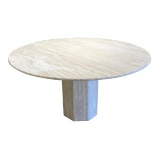 Vintage Mid-Century Modern Travertine Dining Table For Sale