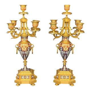 19th Century Louis XV Champlevé Candelabra - a Pair For Sale