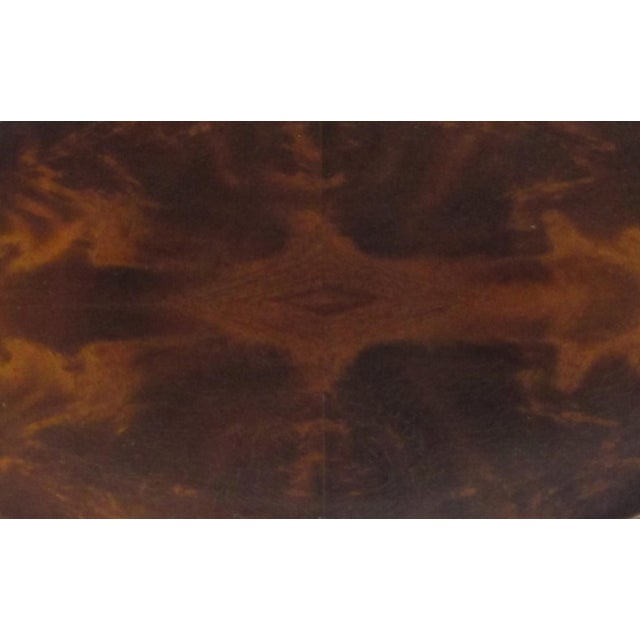 A Handsome English Edwardian Flame Mahogany Veneered Oval Tray With Brass Handles For Sale - Image 4 of 5