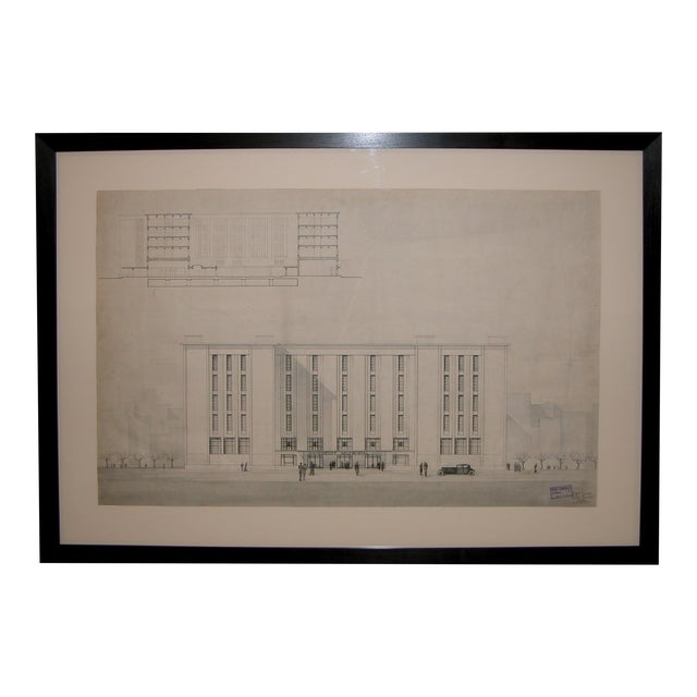 Grand-Scaled French Architectural Drawing For Sale