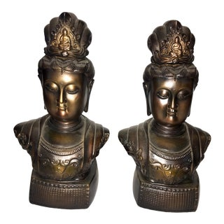 1990s Chinese Buddha Bronze Bookends - a Pair