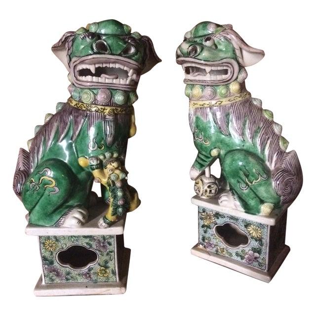 Famille-Verte Porcelain Foo Dogs - Pair For Sale