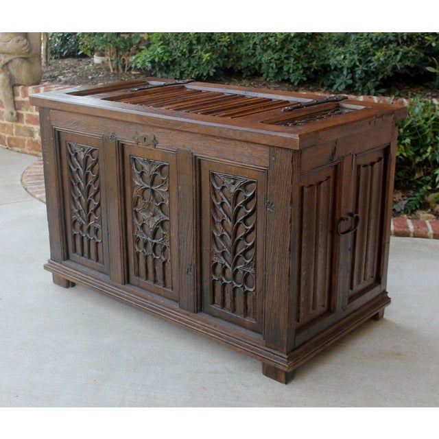 Antique French Oak 19th Century Gothic Coffer Chest Blanket Box Trunk For Sale - Image 10 of 12