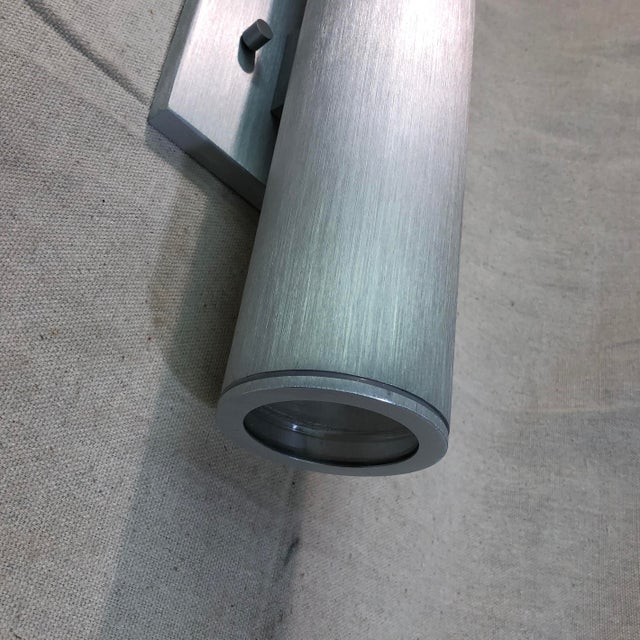 Metal Minka Skyline Outdoor Wall Light in Brushed Aluminum For Sale - Image 7 of 11