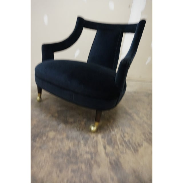 Brass 1950s Italian Gio Ponti Era Black Velvet Gondola Chairs - a Pair For Sale - Image 7 of 13