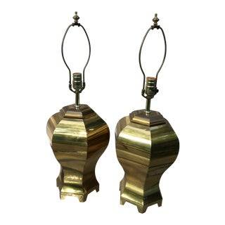 Chapman Style Mid-Century Octagonal Brass Urn Lamps - a Pair For Sale