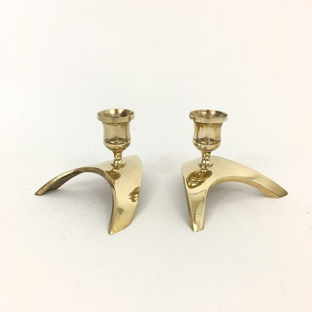 1950s Mid Century Modern Brass Triangle Candlestick Holders - a Pair For Sale - Image 5 of 8