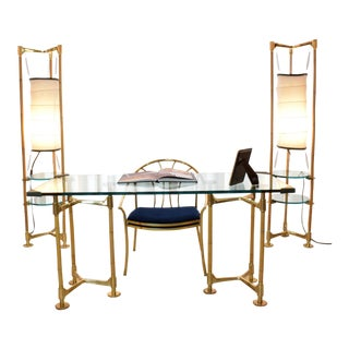 20th Century Vintage Brass Bamboo Desk Gabriella Crespi Style, 1970s For Sale