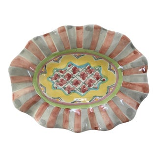 1990s Vintage MacKenzie-Childs, Ltd. Hand Painted Dish/Catchall in Rose Cottage Pattern For Sale