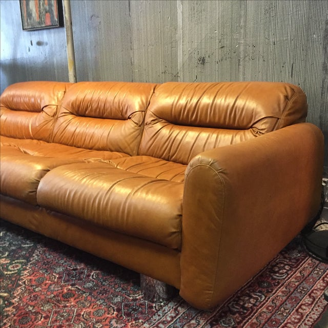 Vintage 1970s Leather and Chrome Sofa - Image 3 of 9