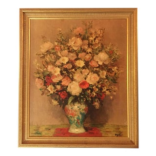 Mid-Century Pink Floral Still Life Giclee Print in Gold Frame For Sale