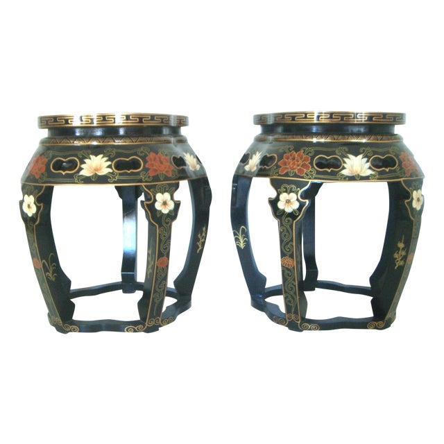 Chinese Black Lacquer Drum Side Tables or Stools - a Pair For Sale