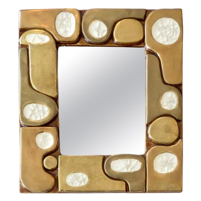 French Ceramic Gold Crackle Glazed and Crystalline Mirror by Francois Lembo For Sale - Image 10 of 10