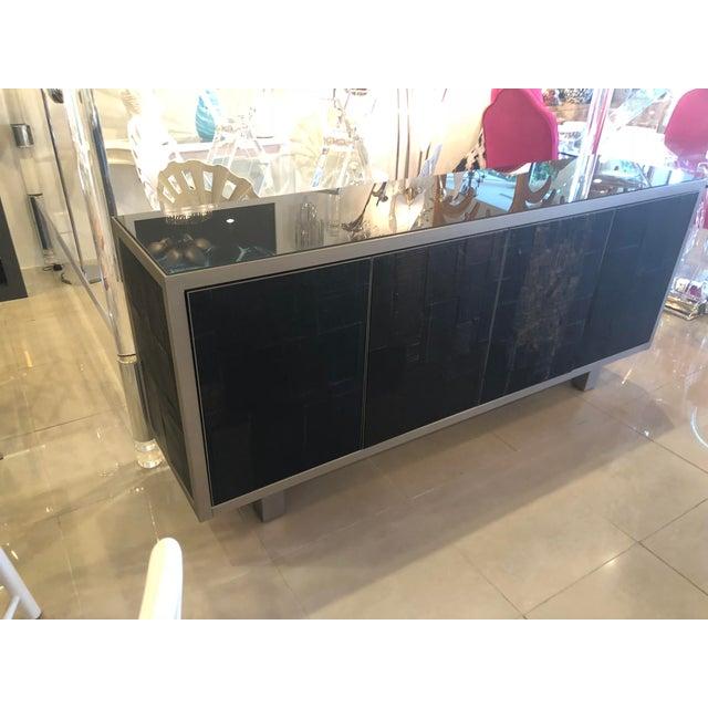 Pia Manu Vintage Brutalist Signed Pia Manu Sculpted Ceramic Slate Sideboard Buffet Credenza For Sale - Image 4 of 13