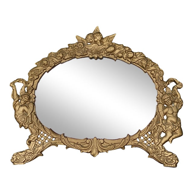 Vintage French Rococo Louis XV Gilded Brass Cherub Motif Oval Table Mirror For Sale