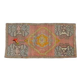 Low Pile Turkish Yastik Petite Rug Hand Knotted Distressed Mat Bath Rug Kitchen Decor- 19'' X 39'' For Sale