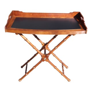 Lane Bow Front Butler Serving Tray Table & Solid Wood Faux Bamboo X Base Stand For Sale