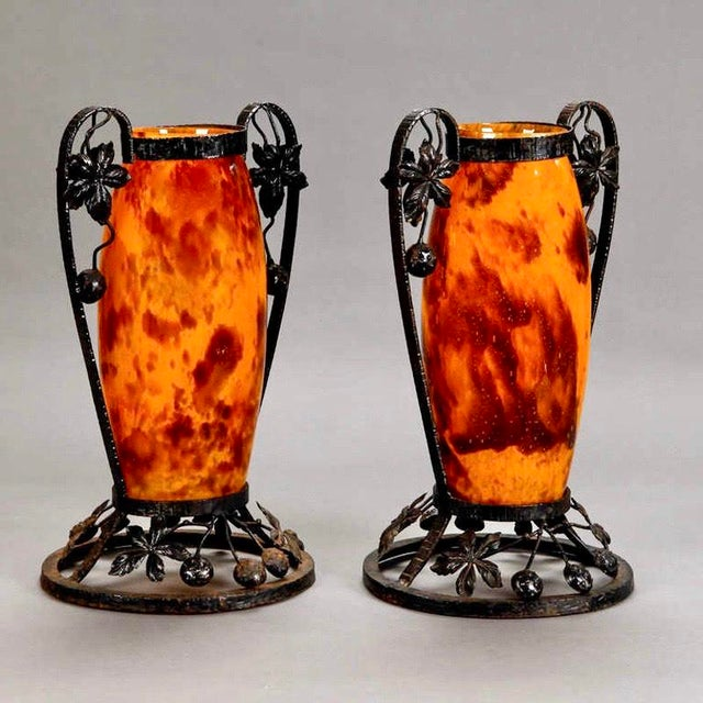 Andre Delatte Pair French Tall Signed Delatte Nancy Art Glass and Iron Vases For Sale - Image 4 of 8