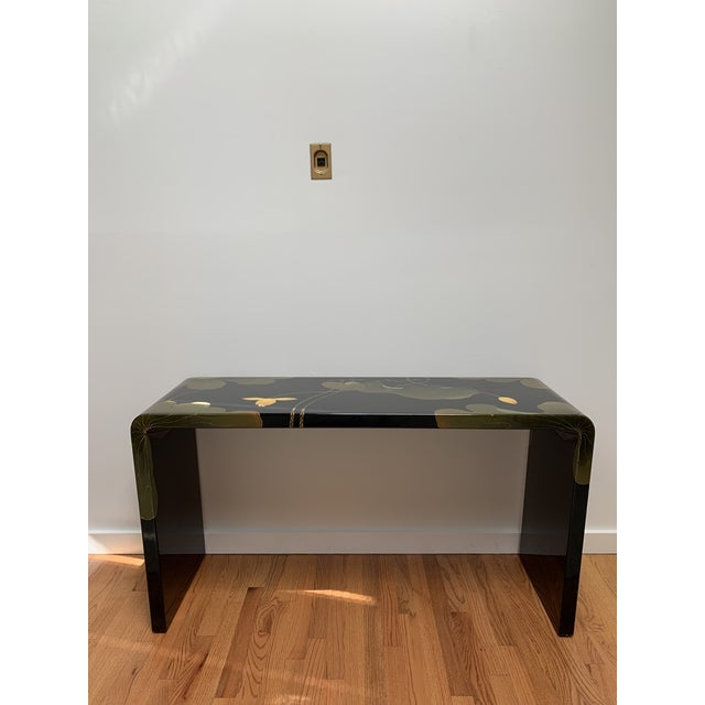 Asian Final Markdown 1970s Asian Modern Lacquered Lily Pad and Lotus Leaf Waterfall Console Table For Sale - Image 3 of 12
