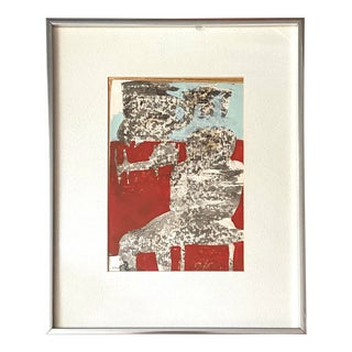 1970s Abstract Gouache on Paper, Framed For Sale