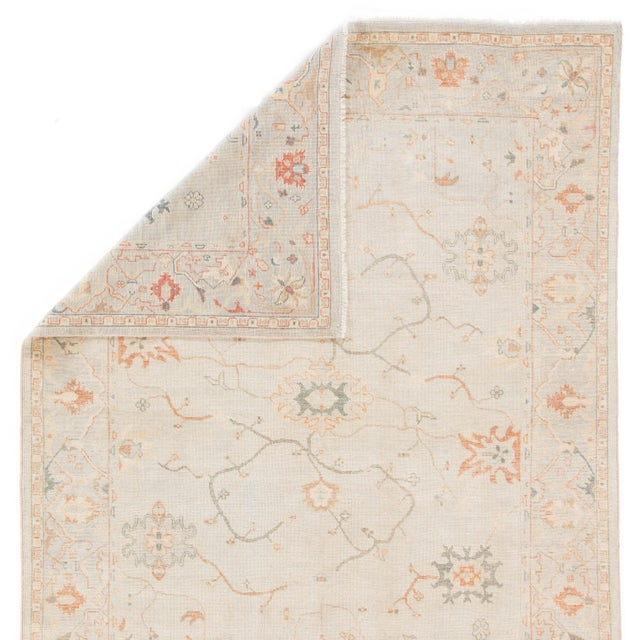 Jaipur Living Phillips Hand-Knotted Floral Light Blue / Cream Area Rug - 9′ × 12′ For Sale - Image 4 of 5