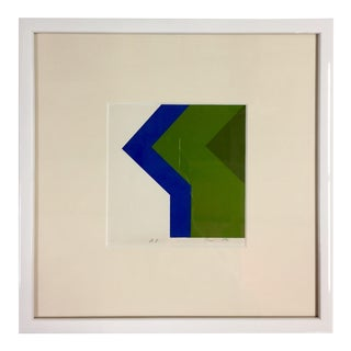 1970s Vintage Simon Tashimoto Japanese Geometric Print For Sale