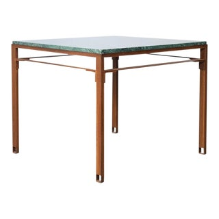 Contemporary Oxidized Steel and Emerald Green Marble Top Squares Table For Sale