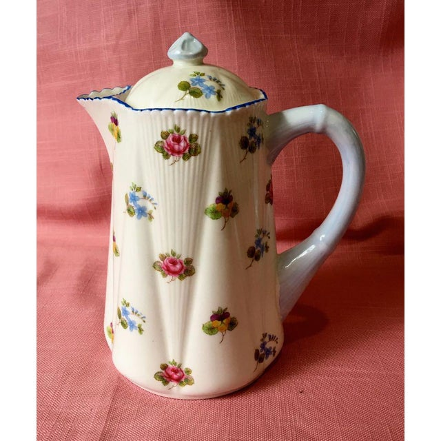 Shelley fine bone china Made in England Coffee Pot With Lid and 4 Demitasse Cups and Saucers Pattern is Rose, Pansy,...