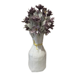 20th Century Italian Ceramic Flower Arrangement Sculpture For Sale
