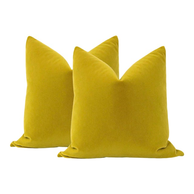 """22"""" Chartreuse Mohair Pillows - a Pair For Sale"""