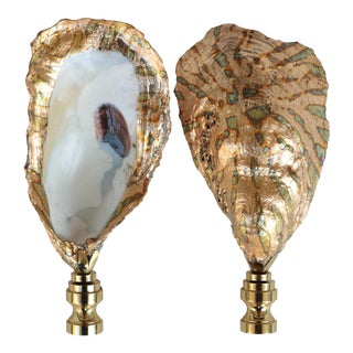 Surf Gilded Oyster Shell Lamp Finials For Sale