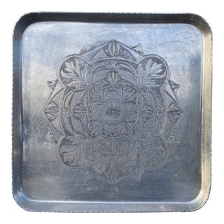 Mid-Century Hand Forged Aluminum Tray For Sale