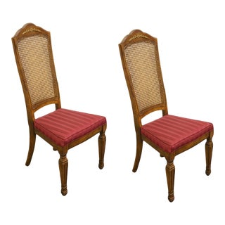 Stanley Furniture Italian Provincial Cane Back Side Chairs - a Pair For Sale