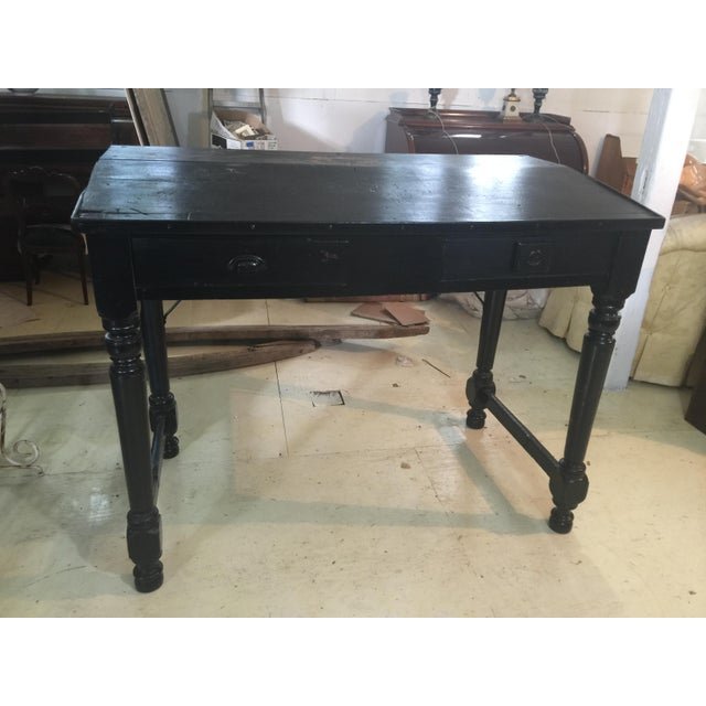 Antique Collections Distressed Black Desk - Image 2 of 4