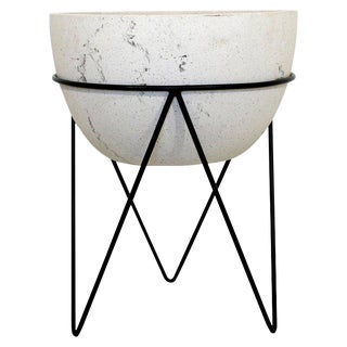 1970s Mid-Century Modern Ceramic Pottery Planter on Hairpin Tripod Iron Base For Sale