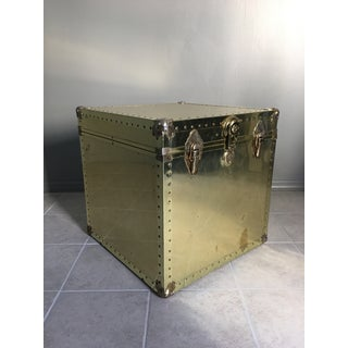 Hollywood Regency Brass Metal Trunk Side Table Preview