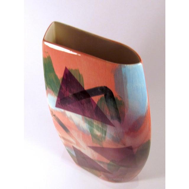 Blue Vintage 1989 John Bergen Studio Ceramic Vase For Sale - Image 8 of 12