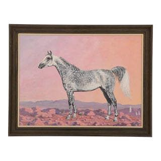 Dapple Gray Horse - Equestrian Portrait Painting For Sale