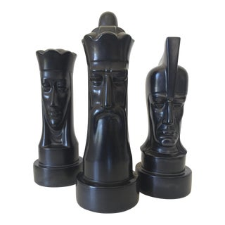 A Monumental Trio of 1940s Black Ceramic Chess Pieces by Peter Ganine