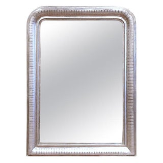 19th Century French Louis Philippe Silver Leaf Mirror With Engraved Stripe Decor For Sale